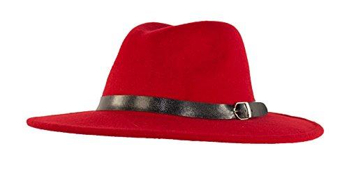 4a9dba5b Wide Brimmed Gangster Fedora w/ Buckle Hatband, Large Felt Flat Brim ...