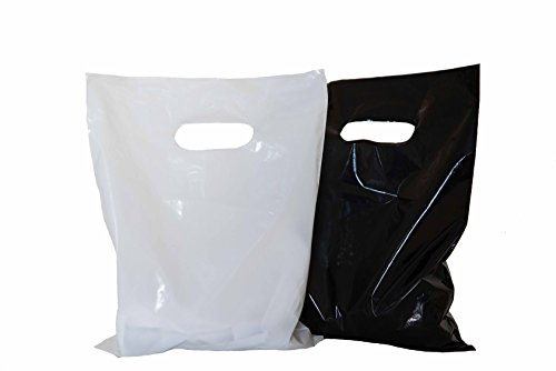 200 small glossy black & white plastic merchandise bags w/die cut handles 9x12'', retail shopping bags perfect for small shops & stores, trade shows, garage sales & events by ACME BAG BROS