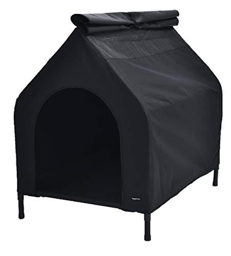 31AychOtALL Amazon Basics Erhöhte, tragbares Haustier-Hütte, Größe S, Schwarz