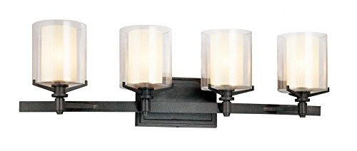 Troy Lighting Arcadia 4-Light Vanity - French Iron Finish with Clear Outer and Ribbed Provence Inner Glass ()