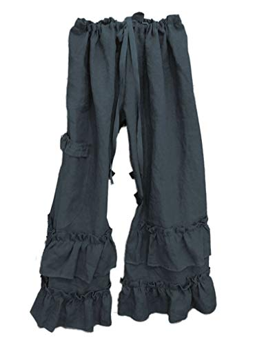 Andongnywell Women's Casual Loose Elastic Waist Cotton Trouser Wide Leg Pants Straight Leg Pant Trousers