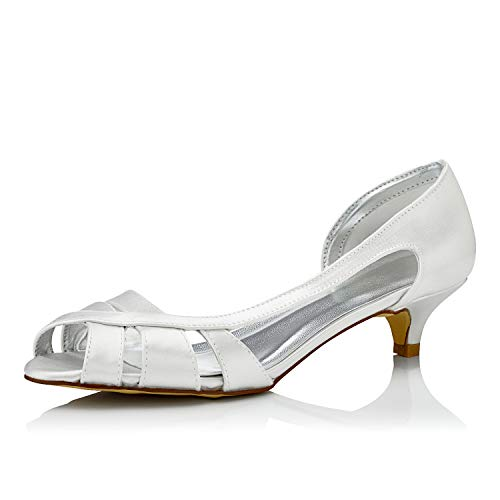 JIAJIA K01115 Women's Bridal Shoes Peep Toe Low Heel Dyeable Satin Pumps Wedding Shoes Color Ivory,Size 8 B(M) US/39 EU ()