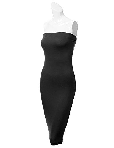 Dressis Des Femmes De Tubes Sans Bretelles Midi Moulante Robe Extensible Awdmd0143_black