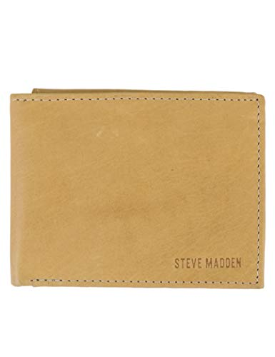 Steve Madden Men's Leather RFID Wallet Extra Capacity Attached Flip Pocket, Tan (Antique), One Size ()