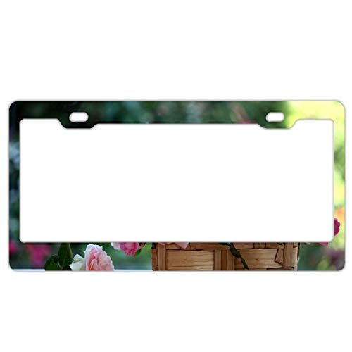 (New Cool card Label Plate License Plate Frame - Front Decoration Device 12 × 6 inches Roses Buds Basket Blurring5)
