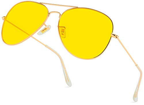 Classic Aviator Style Metal Frame Sunglasses Colored Lens (Gold Frame/Yellow Tint, ()