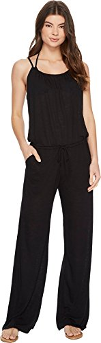 Becca by Rebecca Virtue Women's Breezy Basics Jumpsuit Swim Cover Up Black M