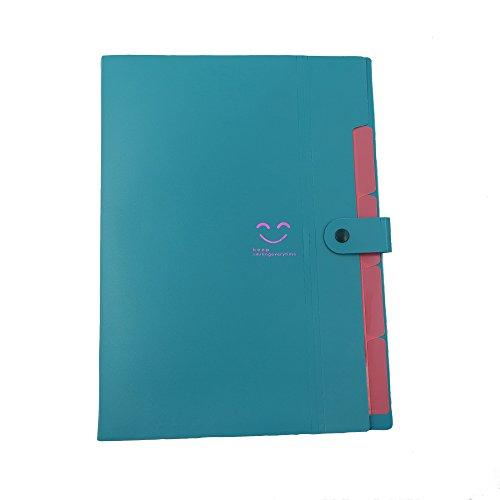 Creative multi-layer A4 PP color Printing Folder File bag Organ bag Briefcase A4 Expanding File Folder Plastic Pocket Folder (dark green) Multi Organ