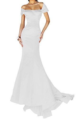 Abendkleid Festkleid Packung Stil Schulter Abendmode Weiß Bride Lang Satin Mermaid Gorgeous Elegant tz8wq
