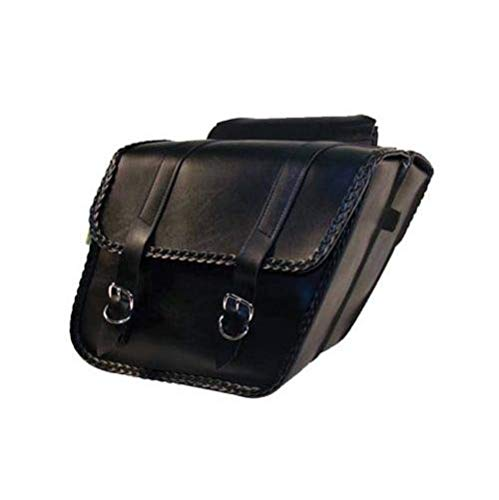 Dowco Willie & Max 58701-20 Braided Series: Synthetic Leather Standard Slant Motorcycle Saddlebag Set, Black, Universal Fit, 15 Liter Each/30 Liter Total Capacity (Lee Troy Shoei Designs)