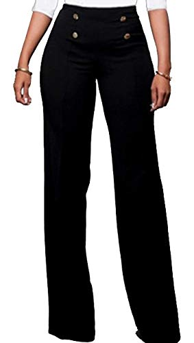 - Women's Buttons High Waist Stretchy Straight Wide Leg Pants Trousers