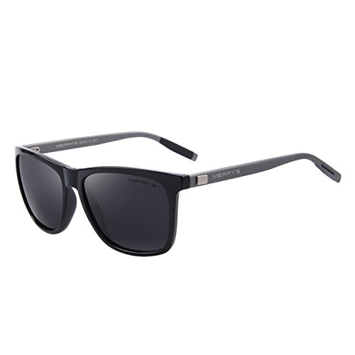 MERRY'S Unisex Polarized Aluminum Sunglasses Vintage Sun Glasses For Men/Women S8286 (Black, 56) (Square Sunglasses)