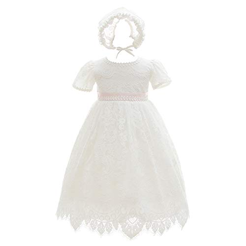 Meiqiduo Baby Girls Lace Dress Christening Baptism Gowns Outfit with Bonnet (3M/3-6 Months, Ivory)