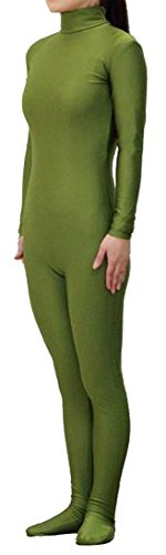 Seeksmile Unisex Lycra Spandex Zentai Dancewear Catsuit without Hood (Small, Army green)]()