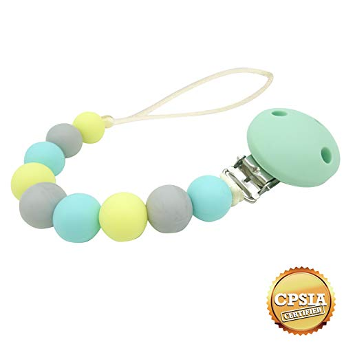 Eagle Store Modern Pacifier Clips for Baby - 2 in 1 - Teething Silicone Beads with Unique Shapes - 100% BPA Free - The Best Baby Teether - MINT color - Infant Baby Shower Gift - Universal fit MAM