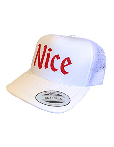 Devious Apparel 94-36 Naughty or Nice Christmas Cute Glitter Foam Trucker Hat (White - Nice) -