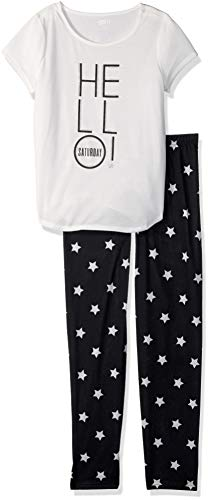 Crazy 8 Girls' Big Short Sleeve Curve Hem Flame Resistant Pajama Set, Bed Hair Don't Care, L ()