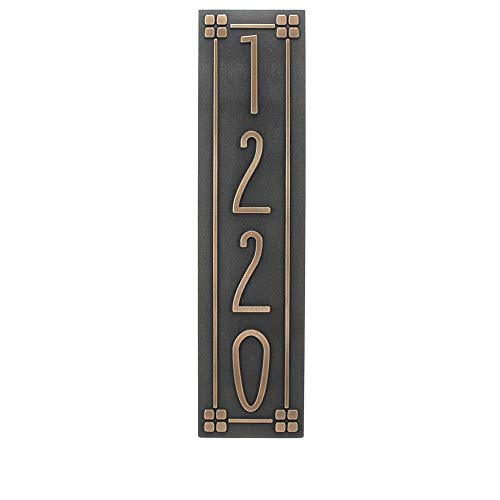 Vertical Address Plaque in Your Choice of Colors in Prairie Style Arts and Crafts Bungalow ()