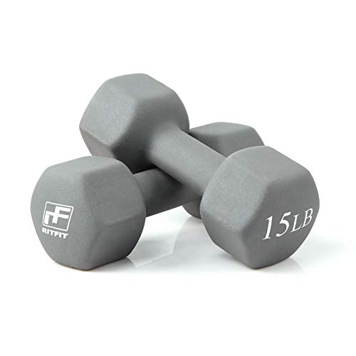 RitFit Set of Two Neoprene Dumbbells Coated for Non-Slip Grip, 1 lb-20 lb