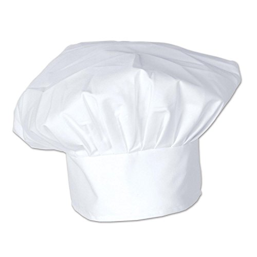 Pack of 12 White Oversized Culinary Themed Chef's Toque Hats by Party Central