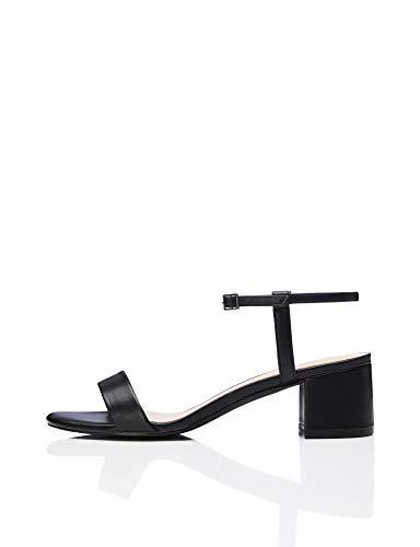 Ankle Black Nero black Block Strap Donna Sandali Heel Punta Aperta Find vpwZqE8