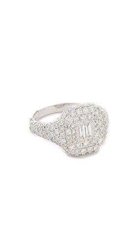 te Gold Pave Essential Diamond Pinky Ring, White Gold/White Diamonds, 3.5 (Diamond Pinky Ring)