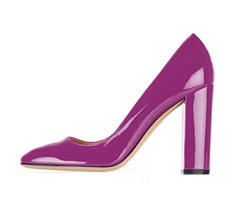 Sammitop Women's High Heel Pumps Closed Toe Dress Shoes Patent Violet Chunky Heel Shoes US9 ()