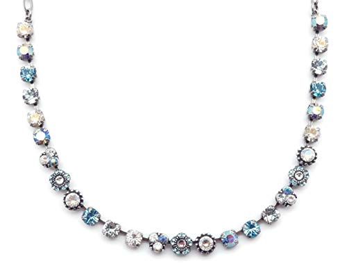 Mariana Italian Ice Swarovski Crystal Silvertone Necklace Blue Clear Mix Mosaic 141 (Flower Ice Swarovski)