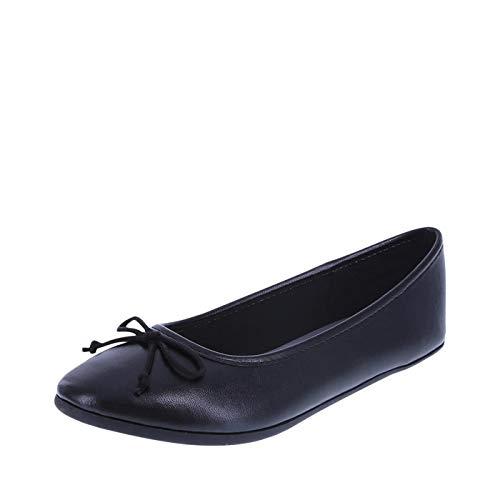 Black Ballet Flats Girls - Zoe and Zac Girls Smooth Black