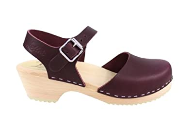Lotta From Stockholm Low Wood Low Heel Clogs in Aubergine Leather
