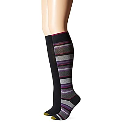 Gold Toe Women's Multi Stripe Knee High Sock (Pack of 2), Black, 9-11 at Women's Clothing store
