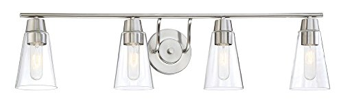 [Designers Fountain 87804-SP Echo - Four Light Bath Vanity, Satin Platinum Finish with Clear Glass] (Platinum 4 Light Vanity Lamp)