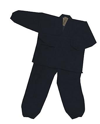 624b419389c7 Amazon | とせん 作務衣 紳士用 綿入(ウォーマル) L 黒 | 甚平 通販