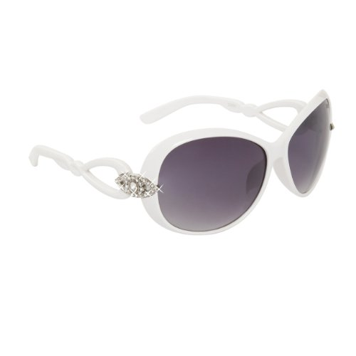 DIAMOND EYEWEAR NEW RHINESTONE SUNGLASSES UNIQUE COLORS - WHITE - Sunglasses Wholesale Unique