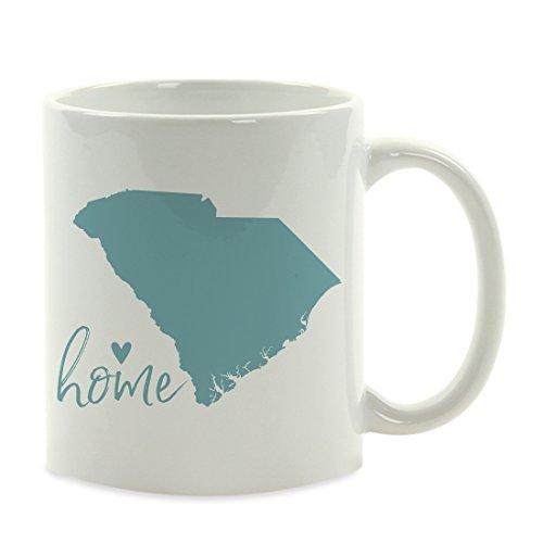 Andaz Press 11oz. US State Coffee Mug Gift, Aqua Home Heart, South Carolina, 1-Pack, Unique Hostess Distance Moving Away Christmas Birthday Gifts for (South Carolina Coffee Mug)
