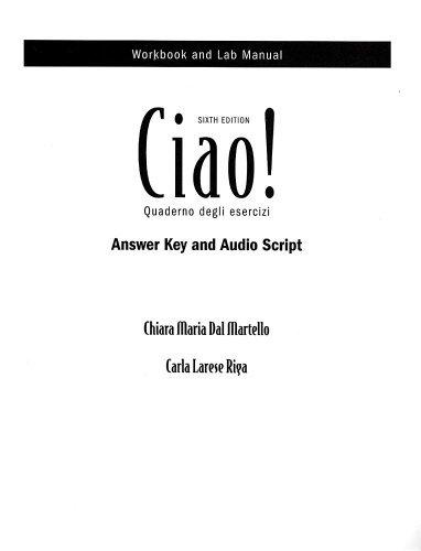 Download By Carla Federici Audioscript (with Answer Key) for Ciao!, 6th 6e pdf epub