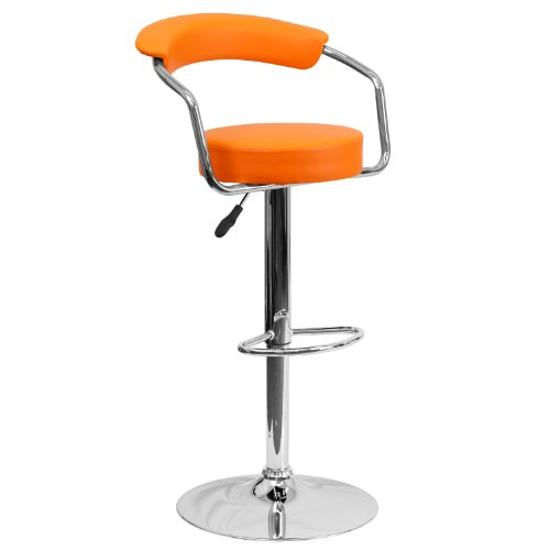 Flash Furniture Contemporary Orange Vinyl Adjustable Height Barstool with Arms and Chrome - Retro Flash