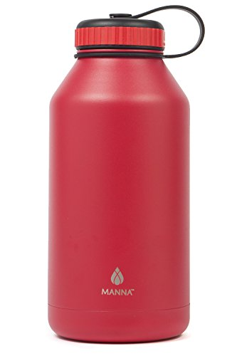 Manna Ranger 64 oz Vacuum Insulated Stainless Steel Wide Mouth Sports Water Bottle With Flex Cap |Sports and Hiking | Keeps Hot for 12 Hours, Cold for 24 Hours | BPA Free | Sweat Free - Goji Berry