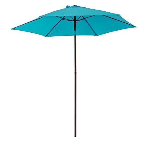 Cheap FLAME&SHADE 7'5″ Outdoor Patio Market Umbrella with Push Button Tilt, Aqua Blue