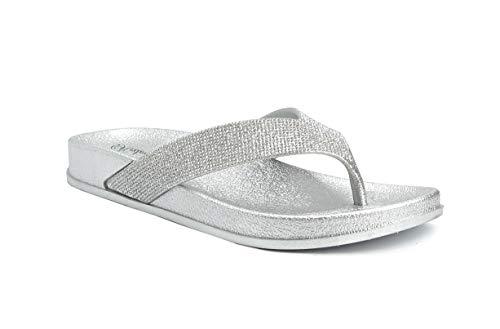 REDVOLUTION Women's Jewel Sandals Soft Platform Footbed Fashion Flip Flop (9 B(M), Glam (Silver))