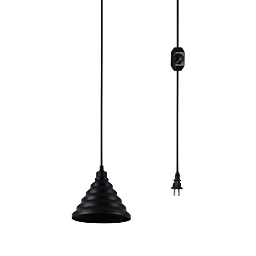Plug-in Ceiling Pendant Lights with Foldable Silicone Lampshade, 15 Ft Hanging Cord and Dimmer On/Off Switch (Black)