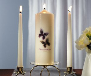 Beautiful Butterflies Personalized Pillar Candle - Ivory - Caribbean Blue