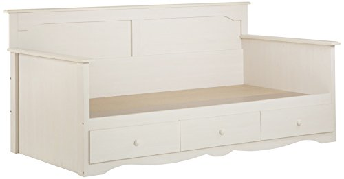 South Shore 3210189 Summer Breeze Twin Daybed with Storage, 39-Inch, White Wash