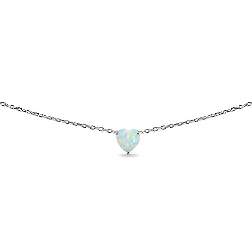 LOVVE Sterling Silver Heart-cut Created Opal Solitaire Choker Necklace for Teens or Women