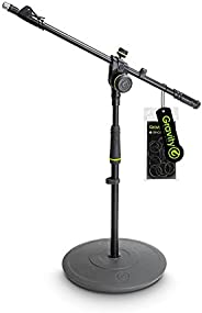 Gravity MS 2222 B Short Microphone Stand with Round Base and 2-Point Adjustment Telescoping Boom (GMS2222B)