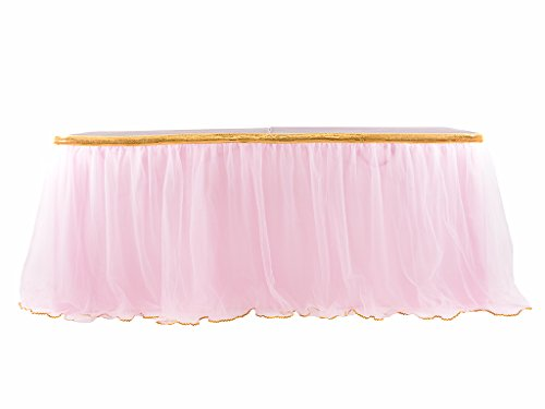 Pink Christmas Decorations - HBBMagic 14 ft Pink Tulle Table Skirt for Rectangle or Round Tables for Party Decoration, Meetings, Birthdays, Wedding, Baby Shower Decoration