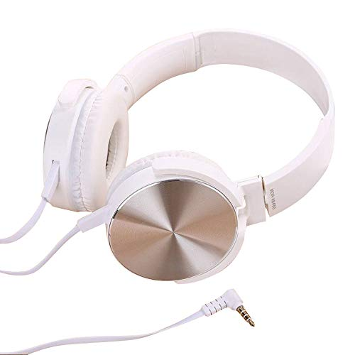 Gaming Headset With Headset Bass Noise Cancelling WIth mic Foldable DJ Headphones 3.5mm Wired Game Earphone Professional Studio Monitor & Mixing (White)
