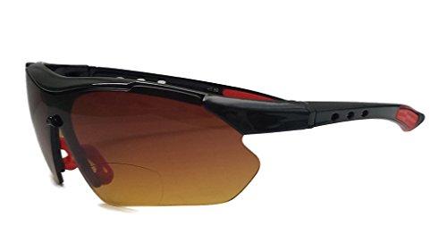 Sungaze Fashion Bifocal Sunglasses Wrap Around Sports Design Anti Glare Coating Glasses (Black Red w/ Amber Lens, 1.50)