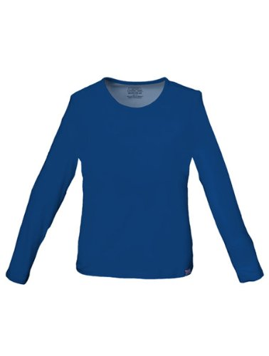 Long Sleeve Jewel Neck Tee (Cherokee Workwear Long Sleeve Tee T-Shirt with Spandex (Navy, L))