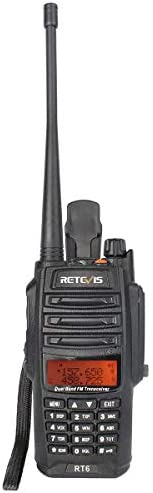 Retevis RT6 2 Way Radios IP67 Waterproof Dual Band VHF UHF Walkie Talkies with Earpiece 1 Pack